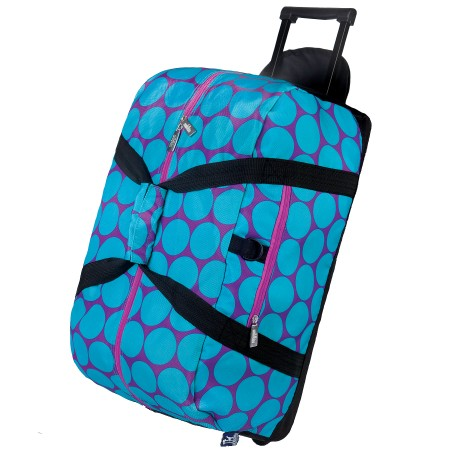 Big Dot Aqua Rolling Duffel Bag