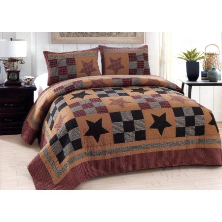 Prairie Star Quilt Set - Full/Queen Size - Includes 2 Pillow Shams