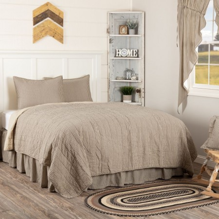 Sawyer Mill Charcoal Ticking Stripe Quilt - Twin Size Set