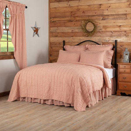 Sawyer Mill Red Ticking Stripe Quilt - Twin Size Coverlet