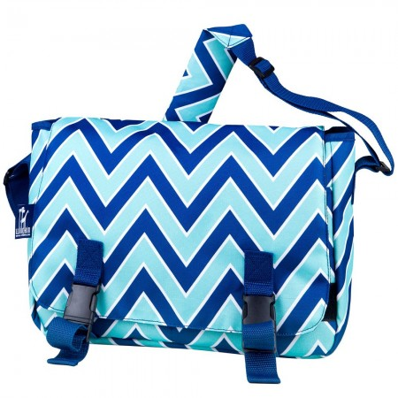 Chevron Blue 15 Inch x 10 Inch Messenger Bag
