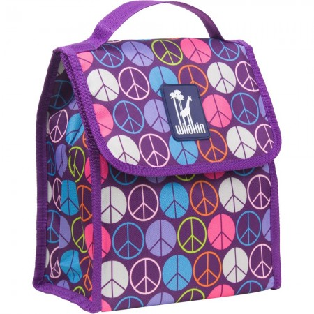 Peace Signs Purple Lunch Bag