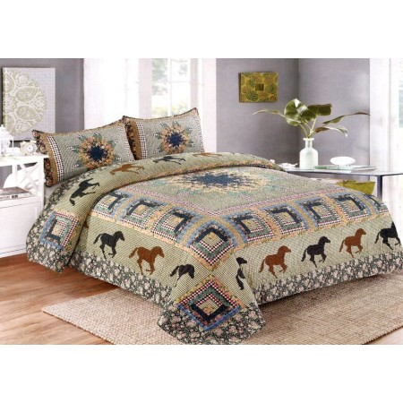 Horse Medley Quilt Set - Full/Queen Size - Includes Shams