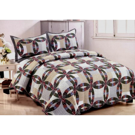 Nicolette Wedding Ring Quilt Set - Full/Queen Size - Includes Shams