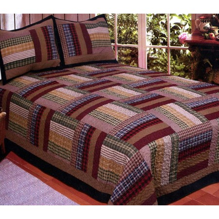 Six Bars King Size Quilt Set - Includes 2 Standard Pillow Shams