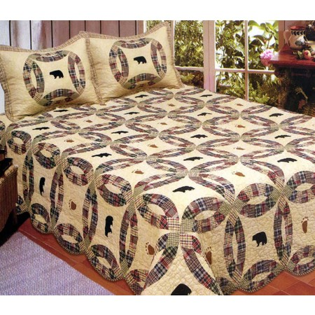 Light Black Bear Quilt Set - Full/Queen Size - Includes Shams