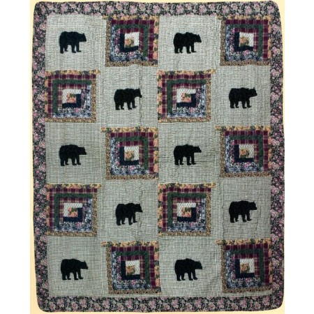 Black Bear Medley Throw Size Quilt