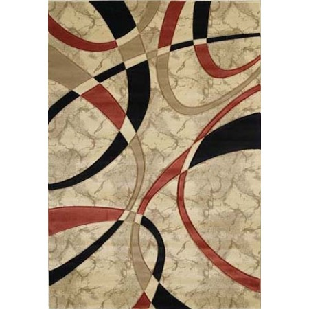 La Chic Cream Area Rug - Geometric Style