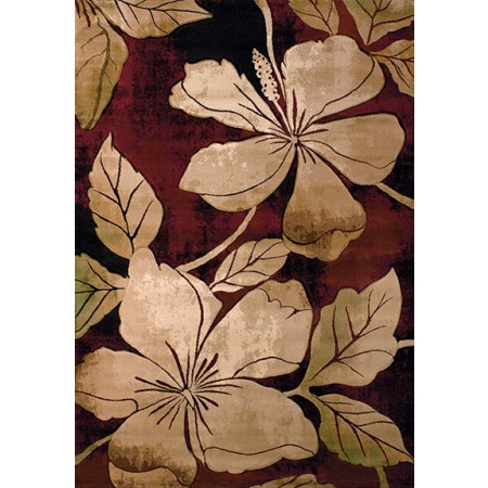 Floral Canvas Burgun Area Rug - Transitional Style Area Rug