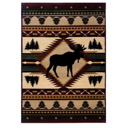 Moose Wilderness Area Rug - Cabin Style
