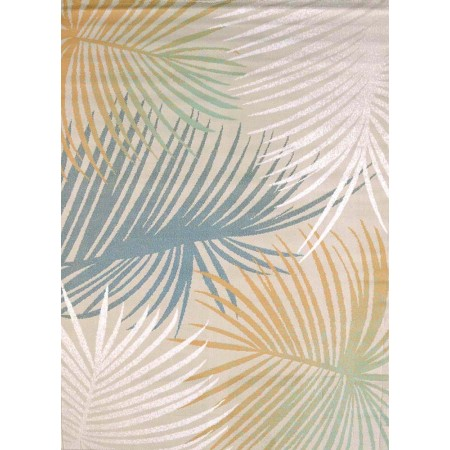 Palm Leaves Blue Area Rug - Coastal Style Area Rug