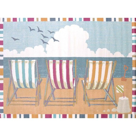 Seaside Chairs Area Rug - Coastal Style Area Rug