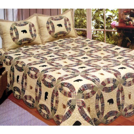 Light Black Bear King Size Quilt Set - Includes 2 Standard Pillow Shams