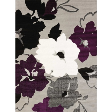 Snow Blossom Plum Area Rug - Transitional Style Area Rug