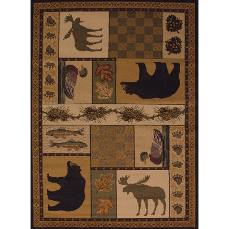Pine Montage Area Rug - Cabin Style Area Rug