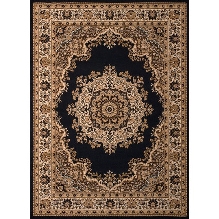 Floral Kirman Black Area Rug - Traditional Style