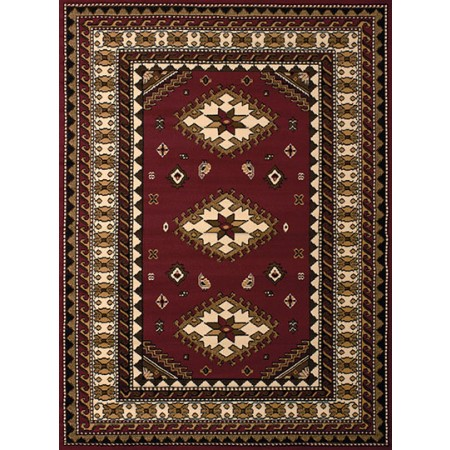 Tres Burgundy Area Rug - Traditional Style