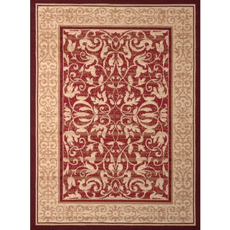 Baroness Red Area Rug - Traditional Style