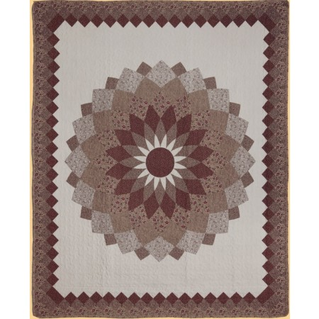 Mocha Dahlia Throw Size Quilt