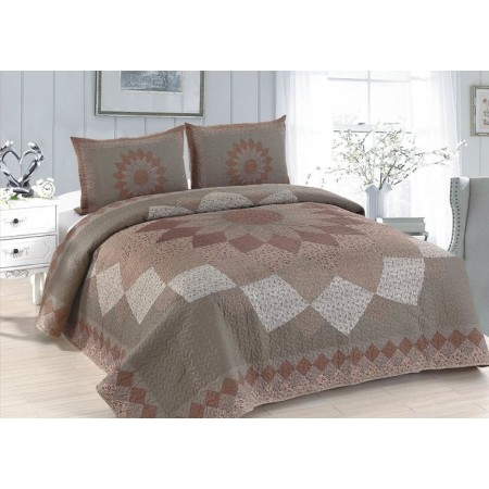 Mocha Dahlia Quilt Set - Full/Queen Size - Includes Shams