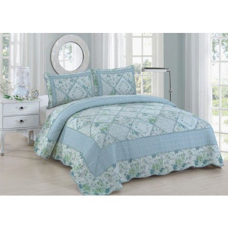 Beverly Blue King Size Quilt Set - Includes 2 Standard Pillow Shams