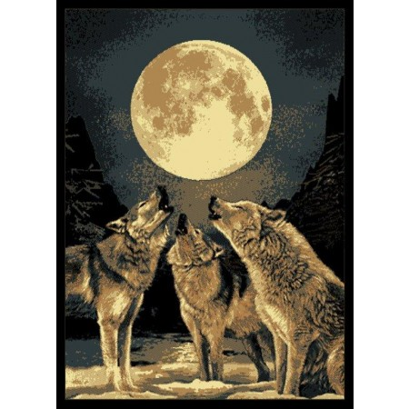 "Howling Moon 63"" Width X 86"" Length Area Rug - Southwestern Themed"