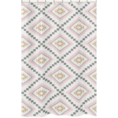 Aztec Pink & Gray Shower Curtain