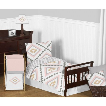 Aztec Pink & Gray Toddler Bedding Set By Sweet Jojo Designs
