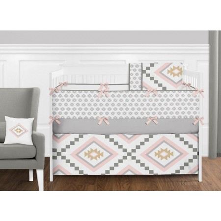 Aztec Pink & Gray 11 Piece Bumperless Crib Set by Sweet Jojo Design