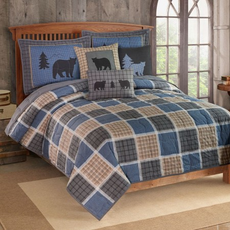 Bear Square Quilt and Sham Set - Full / Queen