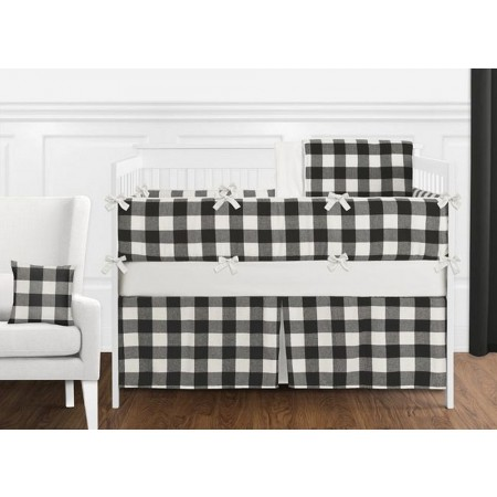 Black & White Buffalo Check Crib Bedding Set by Sweet Jojo Designs - 9 piece