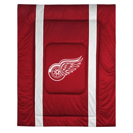 Detroit Red Wings Sideline Comforter - Full/Queen Size - Includes Sheet Set