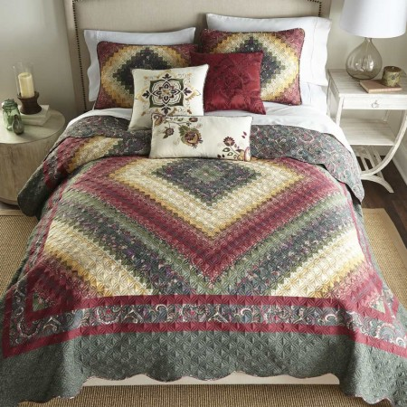 Donna Sharp Spice Postage Stamp Twin Size Quilt - 68 X 90
