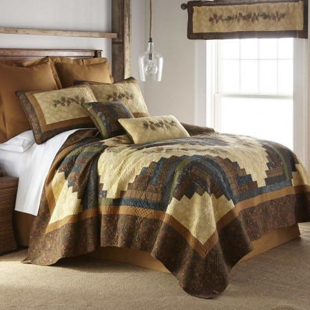 Donna Sharp Cabin Raising Pinecone King Size Quilt - 110 X 96