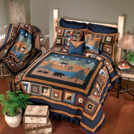 Donna Sharp Midnight Bear King Size Quilt - 110 X 96