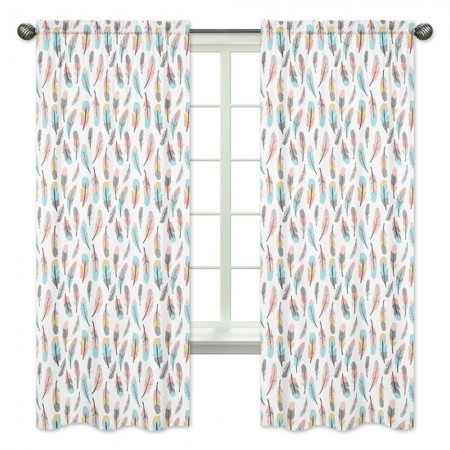 Feather Turquoise & Coral Window Panels
