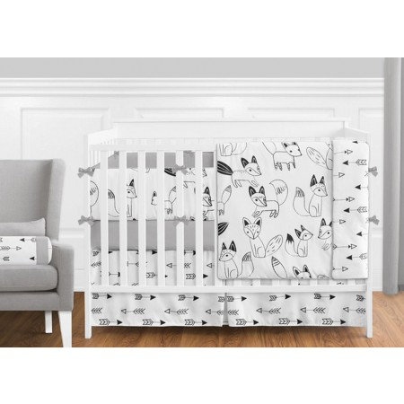 Fox Black & White Crib Set by Sweet Jojo Designs