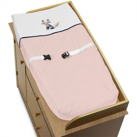 Fox Patch Pink & Navy Changing Pad Cover