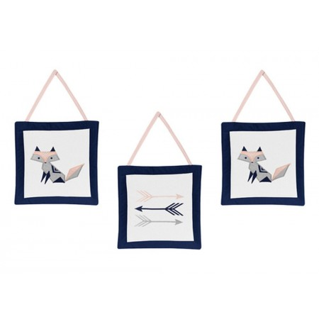 Fox Patch Pink & Navy Wall Hanging