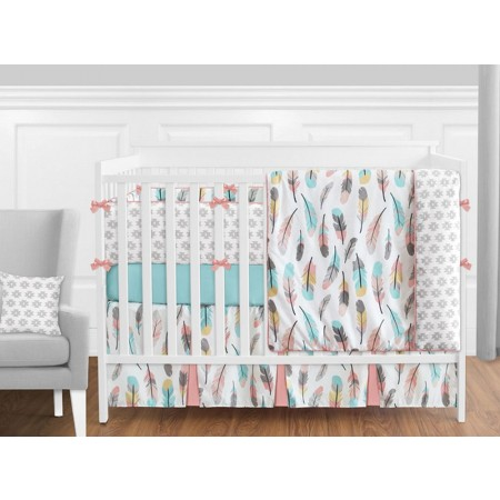 Feather Turquoise & Coral 11 Piece Bumperless Crib Set by Sweet Jojo Design
