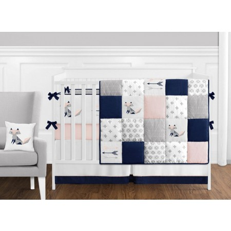 Fox Patch Pink & Navy 11 Piece Bumperless Crib Set by Sweet Jojo Design