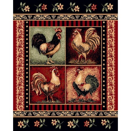 LODGE-379 Roosters Area Rug - Lodge Collection