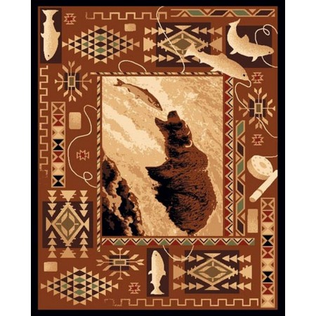 LODGE-381 Bear Catching Fish Area Rug - Lodge Collection
