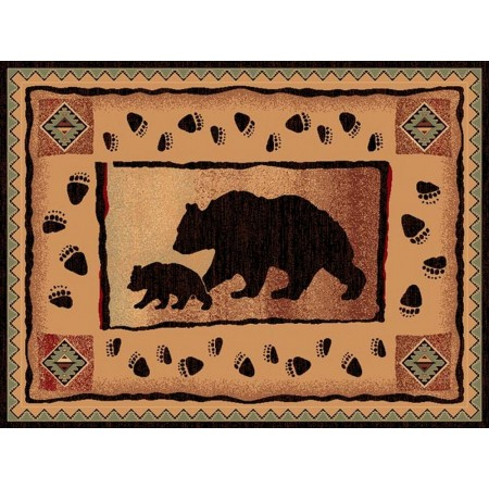 LODGE-367 Bear with Cub Area Rug - Lodge Collection
