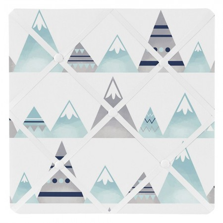 Mountains Grey & Aqua Fabric Memo Board