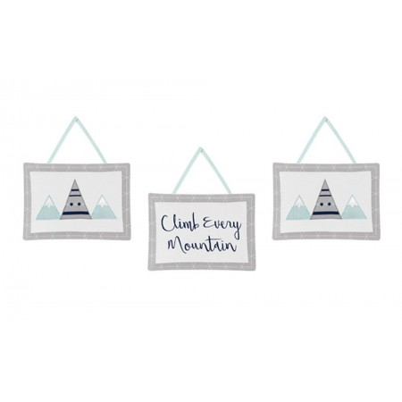 Mountains Grey & Aqua Wall Hanging