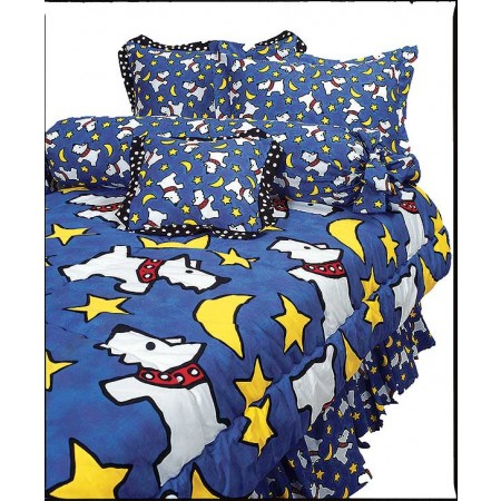 Moon Doggie Royal Blue Scotty Print (Large Print) Bunkbed Hugger Comforter by California Kids
