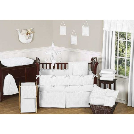 Minky Dot White 11 Piece Bumperless Crib Set by Sweet Jojo Design