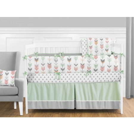 Mod Arrow Gray, Coral & Mint Crib Set by Sweet Jojo Designs