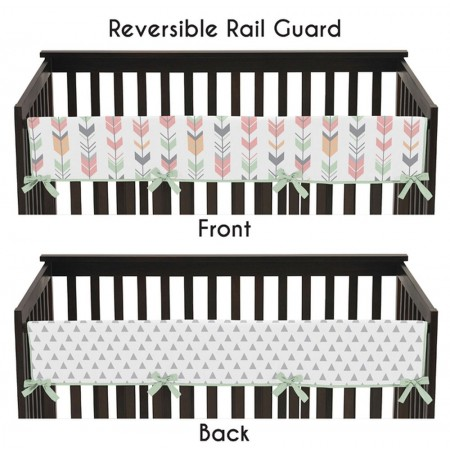 Mod Arrow Gray, Coral & Mint Collection Long Rail Guard Cover